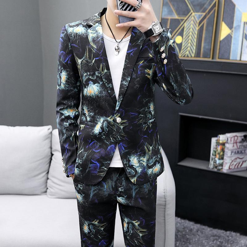 Mens 2-Piece Suits One Button Floral Blazer Dinner Jacket and Pants Vintage Wedding Groom Suits Set