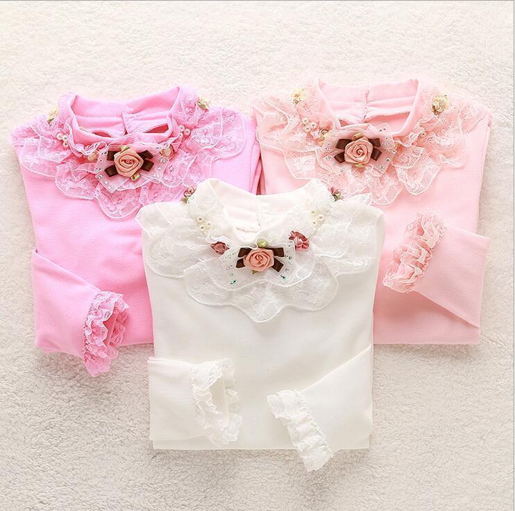 d2376a8aa 2019 Camisa de encaje para niñas Niños Blusas de otoño Camisetas de manga  larga para niños Tops de flores Camisas de invierno Para niñas de la ...