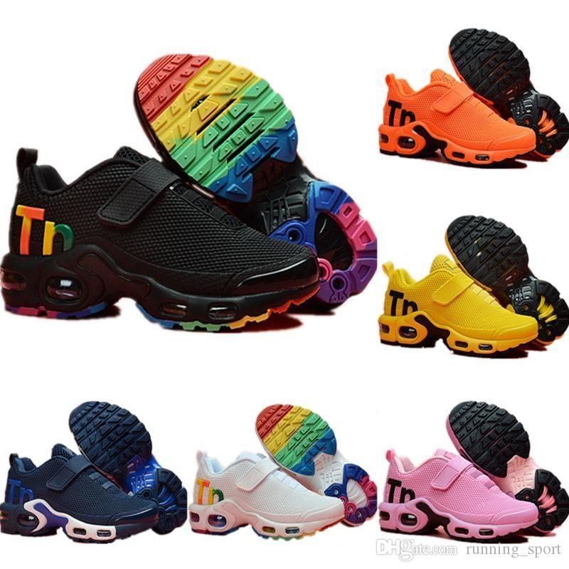 8c071e39db 2019 Designer Toddler Kids Mercurial TN Breathable Tn Plus Rainbow Mesh  Running Sneakers Tns Children Pour Enfants Athletic Sport Trainers Youth  Running ...