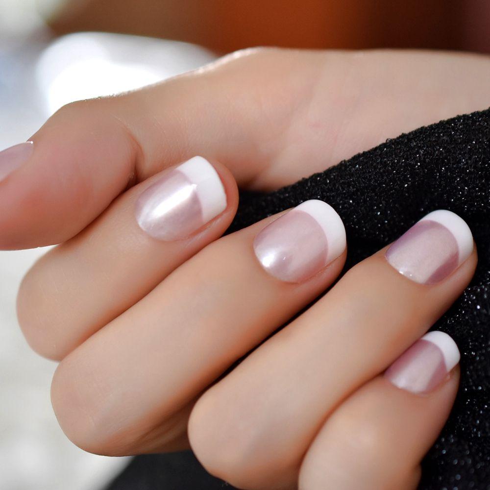 Grosshandel Pearl Shine Pink French Nail White Runde Gefalschte Nagel
