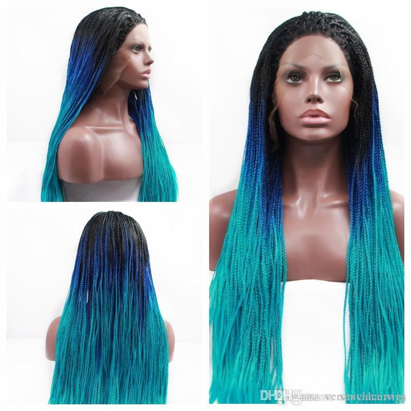 Free Shipping High Quality Multicolor Braiding Wigs Black Roots Ombre Blue Green Micro Braided Synthetic Lace Front Wigs for Women