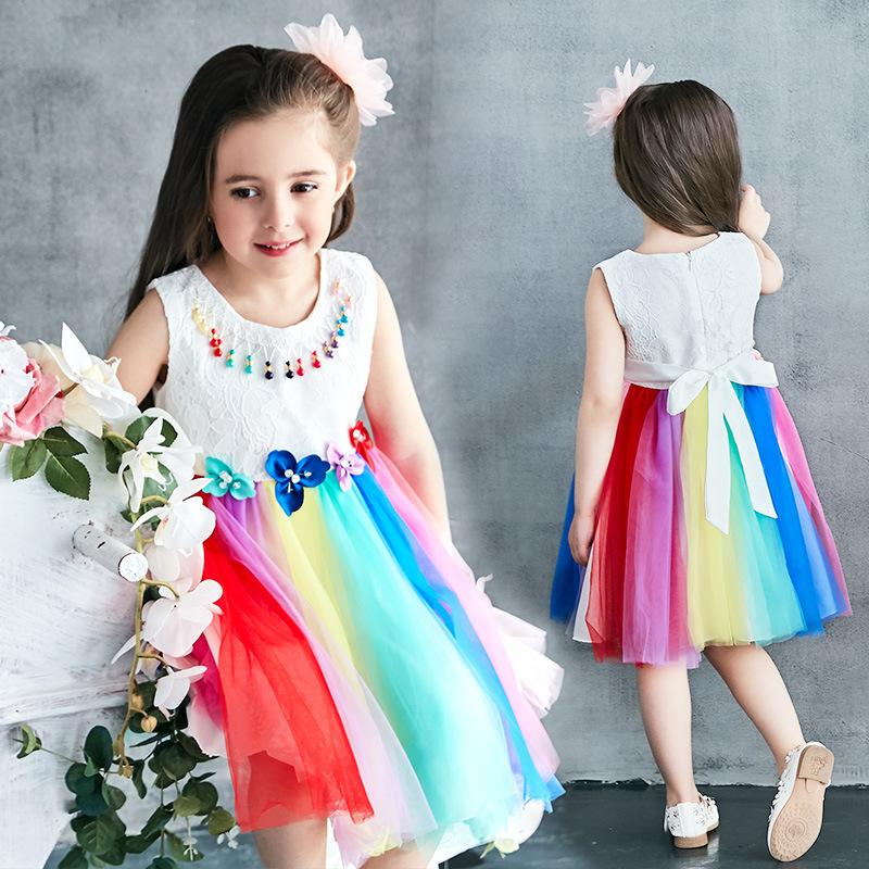 91b8ec21b Compre Vestido De Niña De Flores De Tul De Arco Iris Para Niñas Vestido De  Fiesta De Cumpleaños De Boda Para Desfile De Desfile Para Niñas A  14.08  Del ...