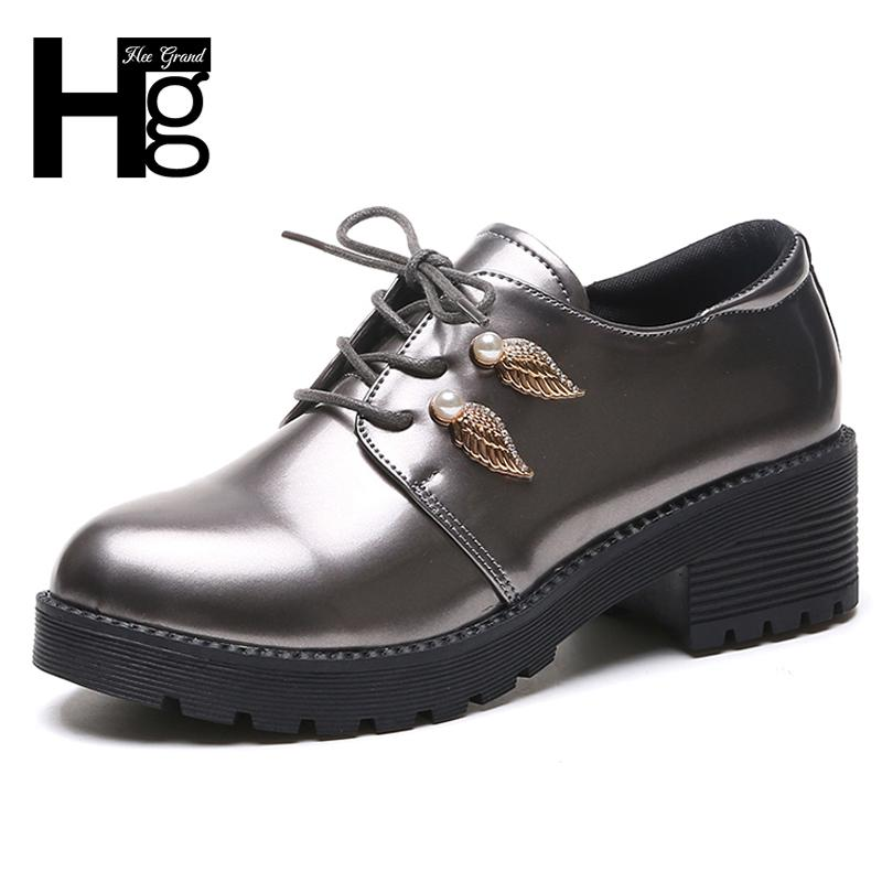8e66bb2d09e Dress Shoes Hee Grand Pu Patent Leather Women Oxfords Lace Up Metal  Decoration Black Silver Women Round Toe Women Loafers Xwd6920 Cheap Shoes  For Men ...