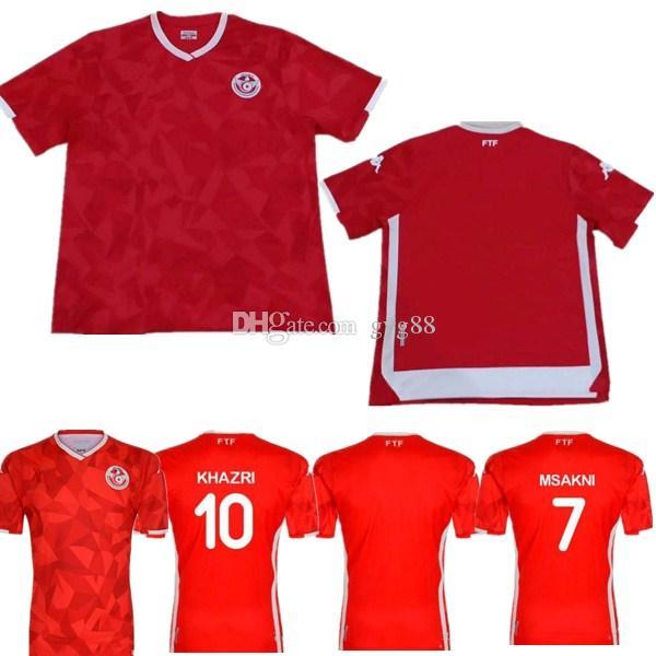 690ea06dc 2019 19 20 Tunisia National Team Soccer Jerseys 7 Msakni 10 Khazri 23 Sliti  Wahbi Khaoui FAKHREDDINE BEN YOUSSE HAMZA Custom Red Football Shirt From ...