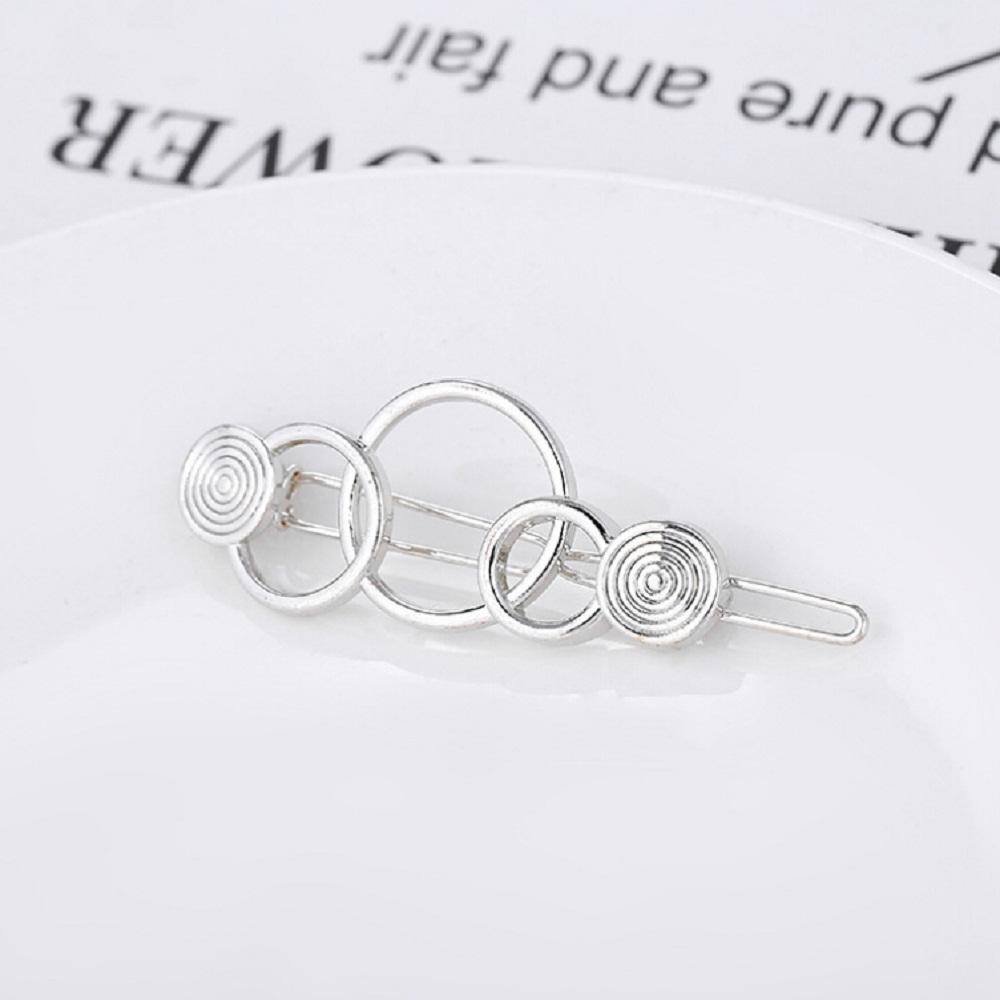 3355eaca39 1 Pcs Fashion Hollow metal Hairpin silver Geometry 3- ring Shape Women Hair  Clips Barrettes Hair Styling Accessories