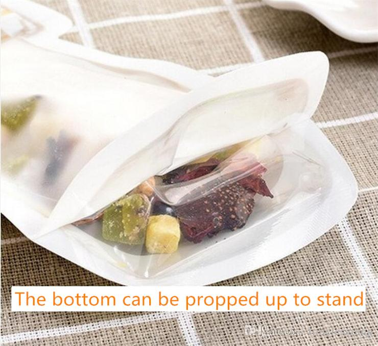 Resuable Zipper Food Storage Bags Mason Jar Shaped Food Storage Container For Snacks Cookie Candy Bag Airtight Seal For Kitchen Storage Bags