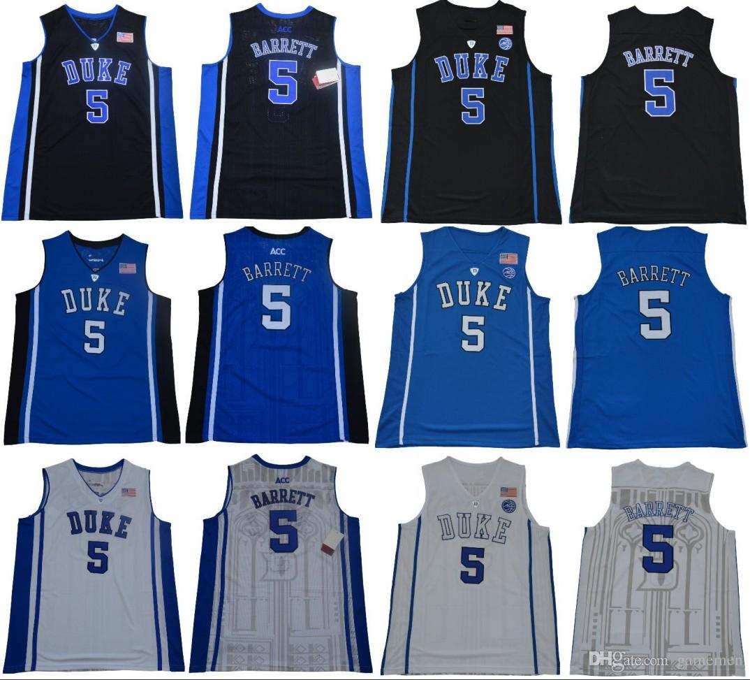 new concept b45c0 0ea1c NCAA 5 RJ Barrett Duke Blue Devils ACC Jersey Black White blue Men College  Basketball stitched Jersey free shipping