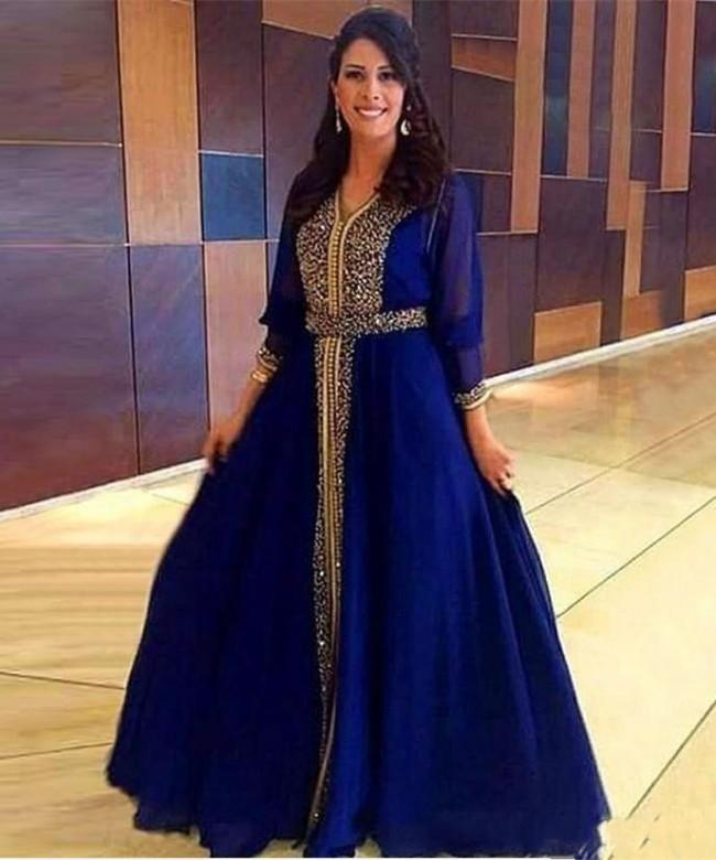 7bbb260a91612 Formal Dubai Kaftan Long Sleeves Evening Dresses With Gold Beaded Chiffon A  Line Mother of the Bride Dress Party Gowns