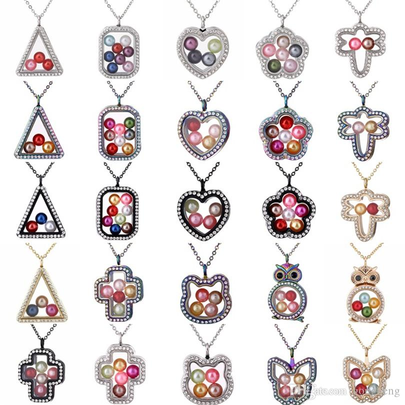 4colors Glass Locket Necklace Owl Triangle Flower Rhinestones Charms 8mm Beads Pearl Cage Magnetic Floating Locket Pendants Necklace