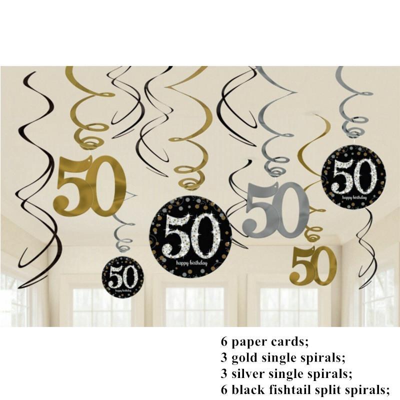 12 UNIDS 30/40/50/60 Años de Edad Decoración de Fiesta Única Adornos Espirales Feliz Cumpleaños Látex de Látex Decoraciones de Fiesta Adulto DIY