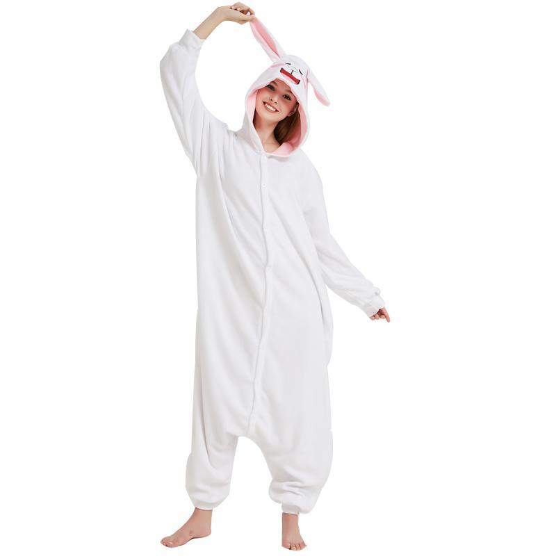 f75b940b4d99e3 Cony Coelho Kigurumi Macio Branco Fleece Pijama Coelho Onesie Para Mulheres  Adultas Inverno Casa Cosplay Partido Macacão Traje de Halloween