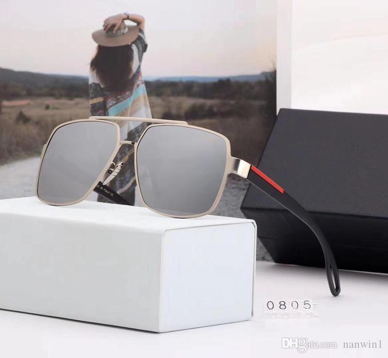 58d9aa986c Compre Prada P0805 Moda Grandes Gafas De Sol Con Montura De Metal ...