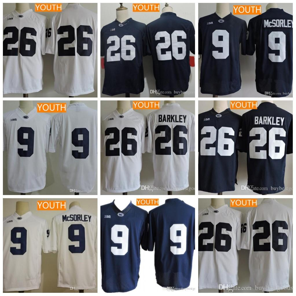 the best attitude 250b7 c31c1 Youth Penn State Nittany Lions 26 Saquon Barkley 9 Trace McSorley Blue  White With Name No Name Kids College Football Jerseys Stitched S-XL
