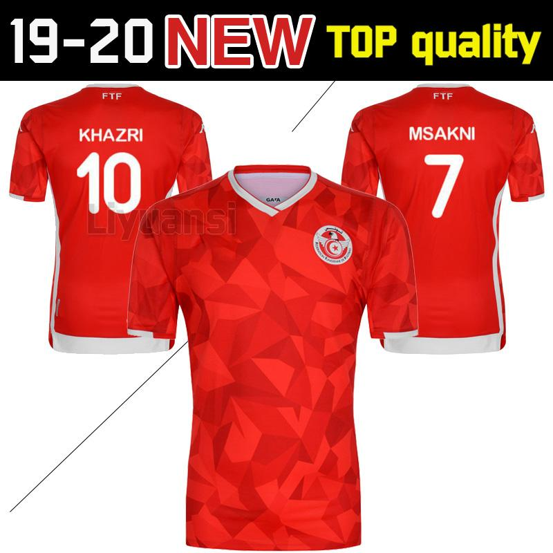 the best attitude ff875 aff9b New 2019 Tunisia Soccer Jerseys 19 20 Home Red #7 MSAKNI #10 KHAZRI Soccer  Shirt KHALIFA SASSI MAALOUL Tunisia Football uniform