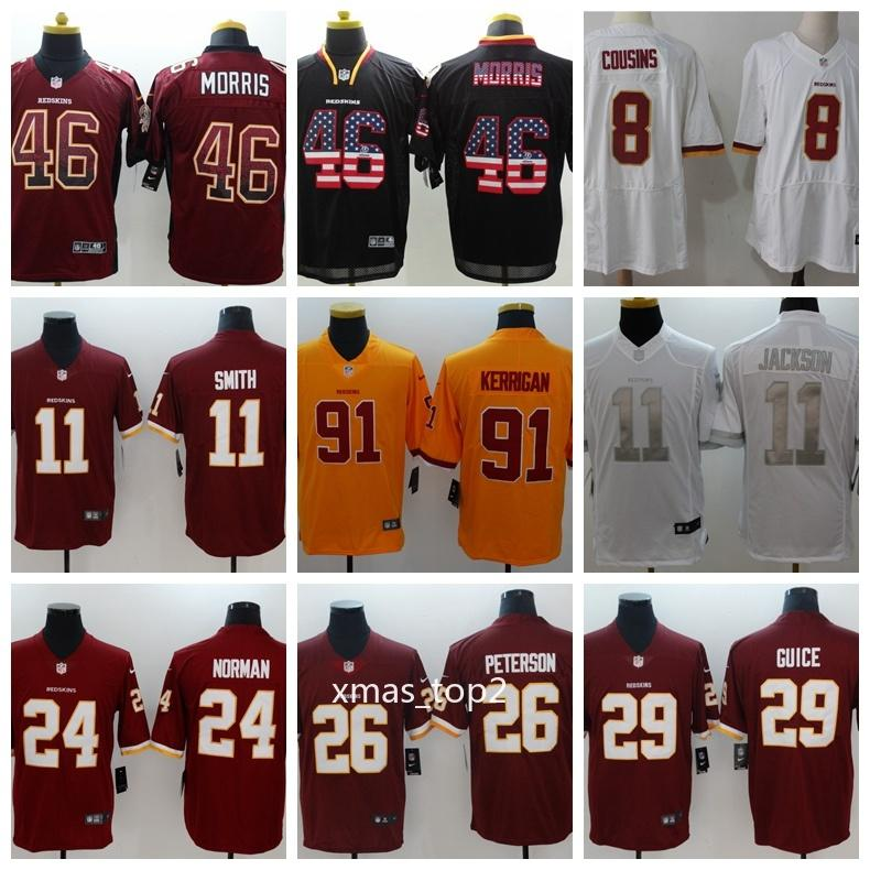 1d3a154318b 2019 Mens Washington Redskins Football Jersey 46 Alfred Morris 11 Alex  Smith 8 Kirk Cousins 29 Derrius Guice 91 Ryan Kerrigan 24 Norman Groom Shirt  Groom ...