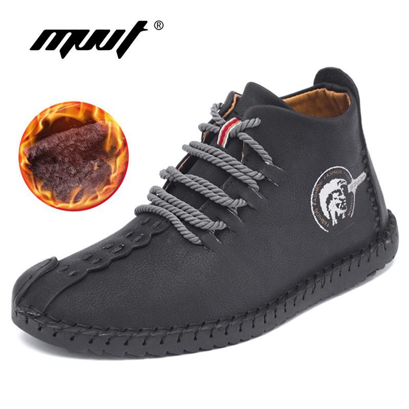 11faf77e Compre Clásico Cómodo Hombre Botines Calidad Split Zapatos De Cuero Hombres  Botas De Nieve Zapatos De Invierno Mantener Caliente De Piel Hombre Botas  ...