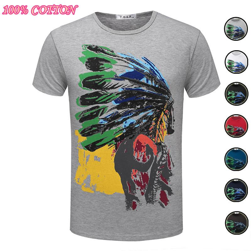 100% Cotton Fashion T Shirt Indian T-shirt O Round Neck Short Sleeve Go Tops Tees Registered Free Shipping Tx75-an-r