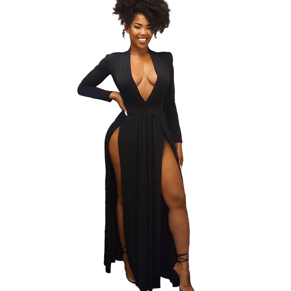 0c32b0367d 2019 Spring Long Sleeve Sexy Deep V Neck Backless Maxi Dress High Slit  Black Floor Length Nightclub Party Dresses Robe Femme Beautiful Dresses  Petite ...