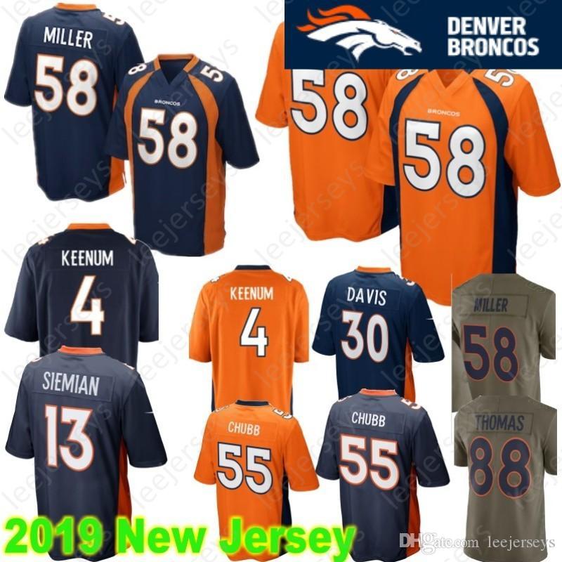 c4b39ab09 2019 Denver 58 Von Miller 30 Terrell Davis Bronco Jersey 55 Bradley Chubb 7  John Elway 4 Case Keenum 14 Courtland Sutton 13 Trevor Siemian From ...
