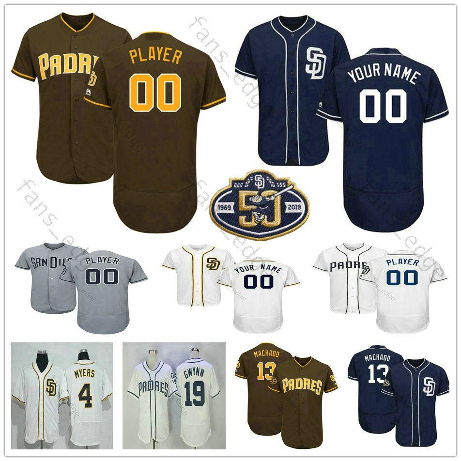 the best attitude f64b2 e8361 Custom San Diego #34 Rollie Fingers 19 Tony Gwynn 51 Trevor Hoffman 4 Wil  Myers Padres Men Women Kids Youth Baseball Jerseys