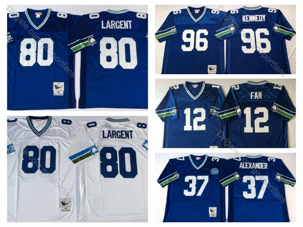 big sale ea065 5a797 Vintage Seahawks 37 Shaun Alexander Jersey 80 Steve Largent Jersey 12 12th  Fan 96 Cortez Kennedy Stitched Seattle Football Jerseys M-XXXL