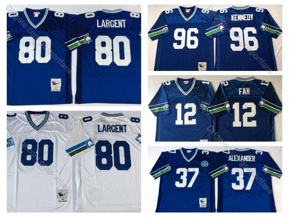 big sale 3fb83 fa5f0 Vintage Seahawks 37 Shaun Alexander Jersey 80 Steve Largent Jersey 12 12th  Fan 96 Cortez Kennedy Stitched Seattle Football Jerseys M-XXXL