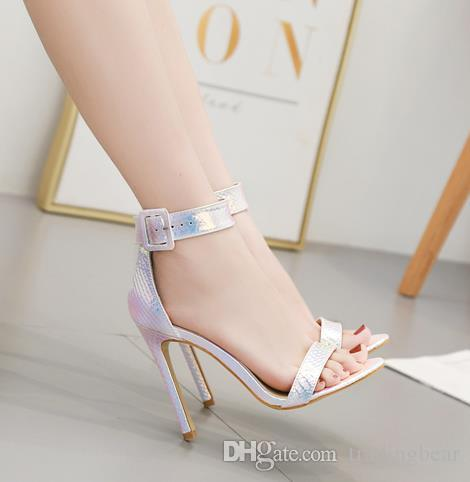 Plus size 35 to 40 41 42 dreamy blue ankle strap stiletto high heel sandals silver dress shoes bride wedding shoes