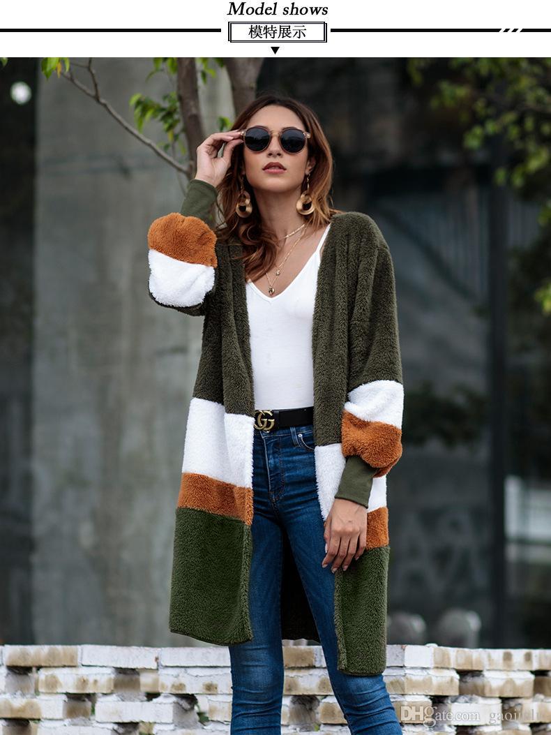 a0e523d2a4c16 Satın Al Kadın Giyim Yeni Stil 2018 Avrupa Ve Amerikan Gevşek Kazak Orta  Uzun Hırka Sonbahar Ve Kış Peluş Ceket, $26.13 | DHgate.Com'da
