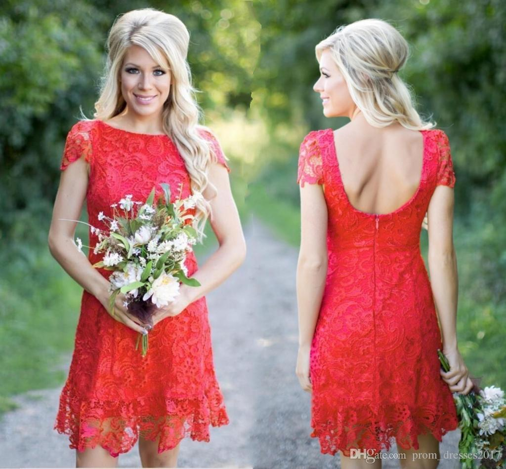 2019 Red Full Lace Short Bridesmaid Dresses Western Country Style Crew Neck Cap Sleeves Mini Backless Homecoming Cocktail Dresses