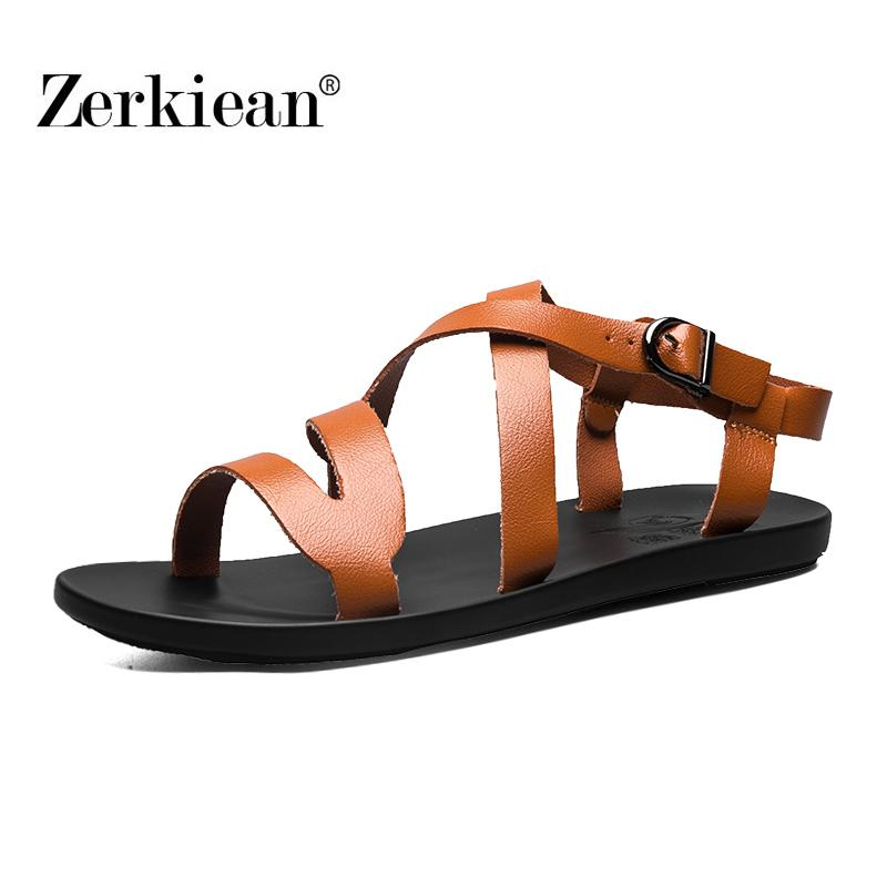 2aec7e0a Casual Summer Beach Leather High Quality Ankle Strap Cross Tied Gladiator  Shoes Roman T Strap Flip Flop Men Sandals Ladies Shoes Red Shoes From  Aiyin, ...