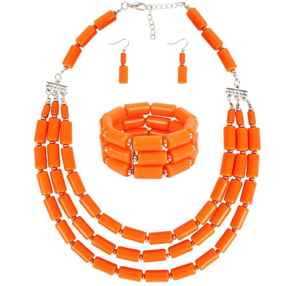 Women Wedding Jewelry Sets Beads Necklace Earring Bracelet Sets Statement Collar African Beads Jewelry Set Party Gifts