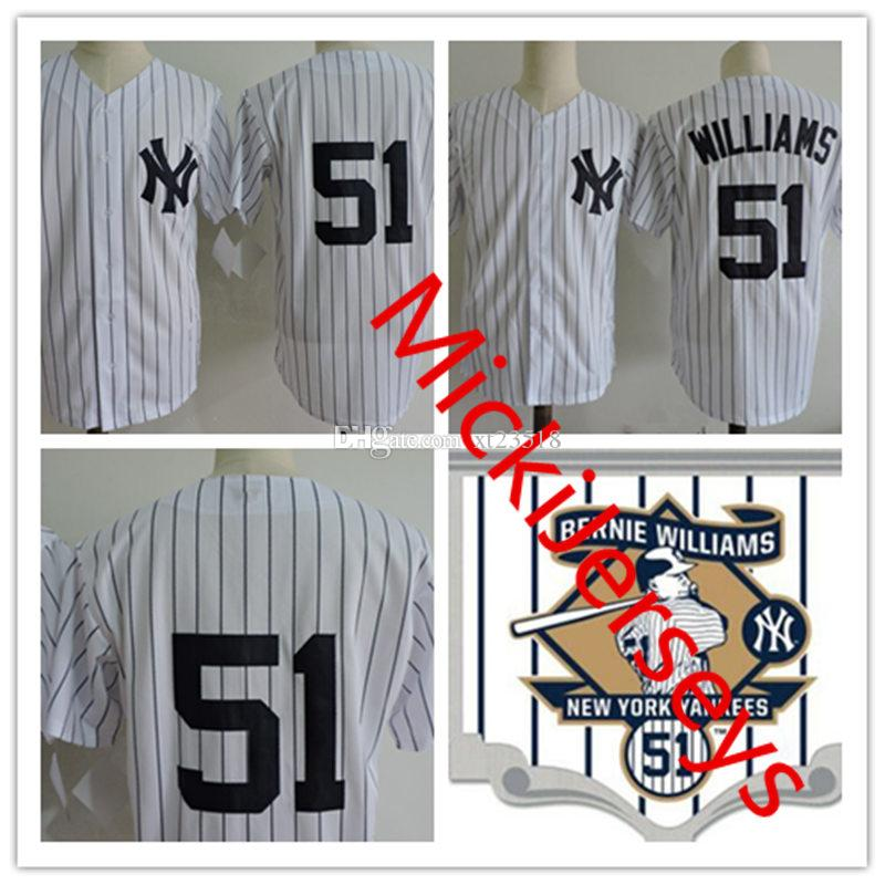 on sale fddc9 6cee6 Mens BERNIE WILLIAMS Jerseys Stitched white grey navy #51 BERNIE WILLIAMS  retirement Patch Jersey S-3XL