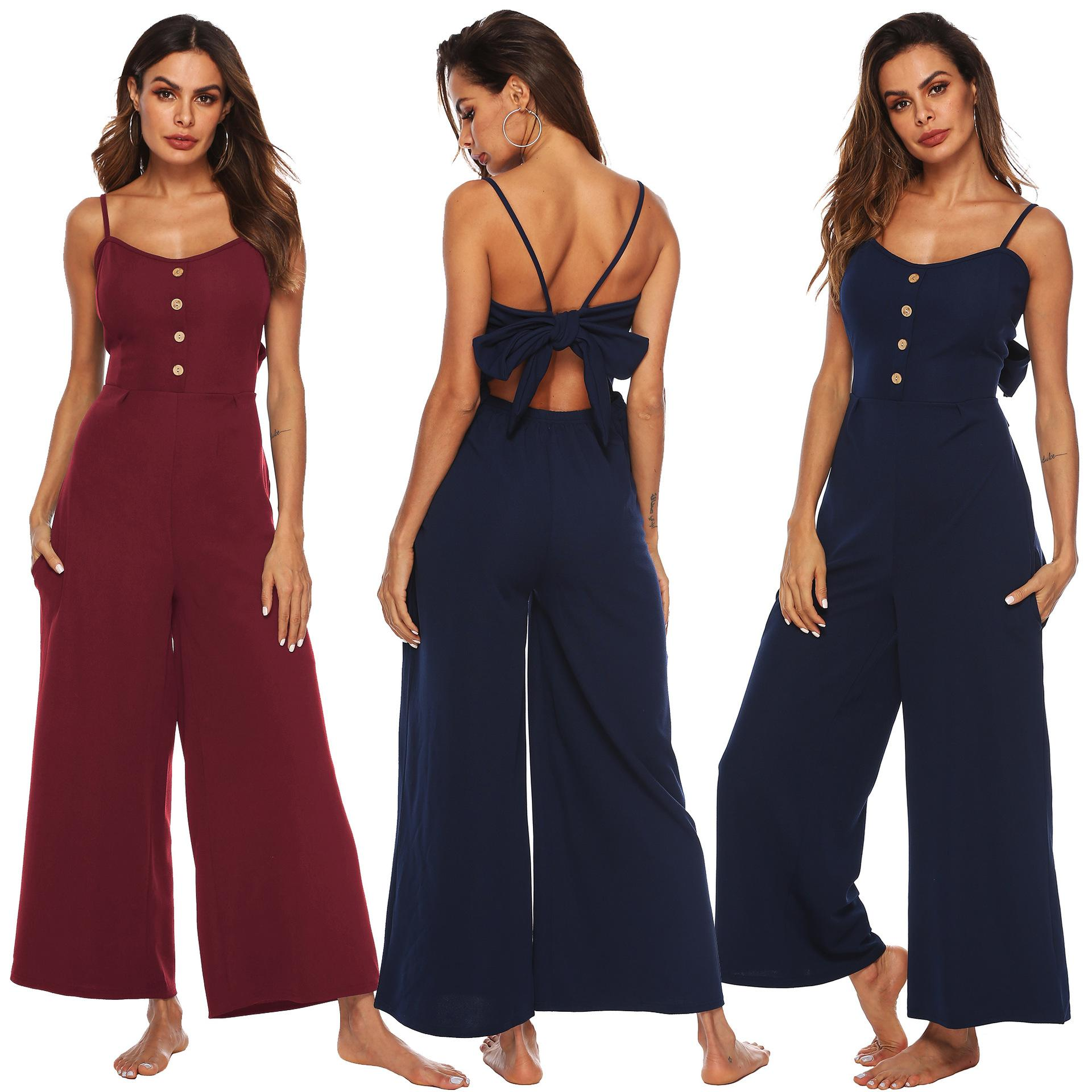 30982fb822d 2019 2019 Summer New Blue Bodycon Backless Jumpsuits Women Sexy Party  Clubwear Jumpsuits Casual Bowtie Overalls Jumpsuit Plus Size From  Donnatang240965