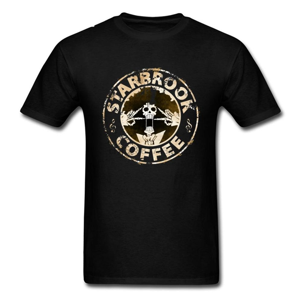 Art T Shirt One Piece Pirate King Camiseta Homens Starbrook café Grunge Camiseta Japão Anime alma Crânio Brook Tops Luffy Zoro Tees