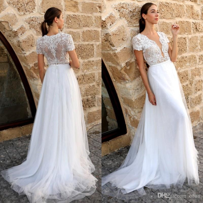 9dfad3c694d Discount Plus Size V Neck Lace A Line Wedding Dress Beach Short Sleeve  Floor Length Tulle Boho Bridal Gown A Line Wedding Gowns Affordable Wedding  Dresses ...