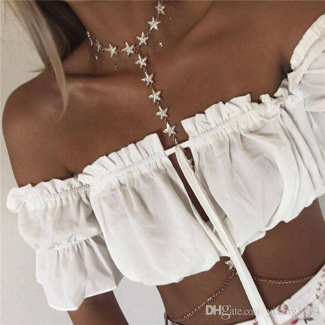 American and European classic sparkle pentacle body chain individual character fashionable female bikini deserves to act the role of