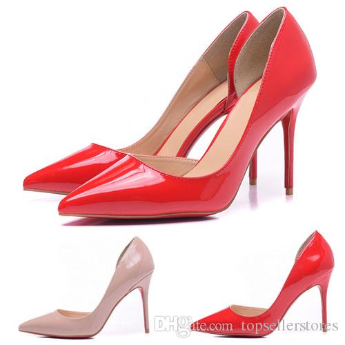 573c55fec14 Fashion Side Hollow Designer Shoes High Heels Women 12cm Leather Bottoms  Pointed Toes Luxury Brown Red Pumps Dress Shoes Size 35-42