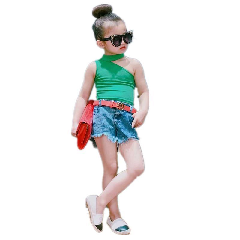 e75a753c1 Compre 2019 Moda Infantil De Verano Arnés Salvaje Camisa Sin Mangas Niñas  Camiseta Irregular Pasarela Marea A $35.95 Del Superbest16 | DHgate.Com
