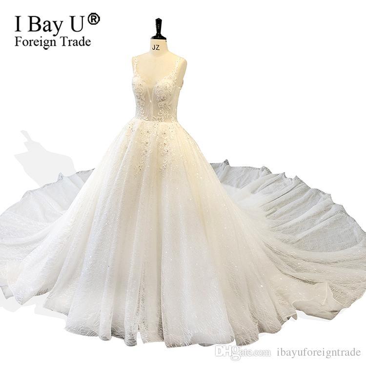 check out adf1c d7316 Luxus Bling Saudi Arabisch Spitzenkleid Hochzeit Dubai 2019 Elfenbein  Ballkleid Brautkleider Glitter Tüll Brautkleider Lange Zug