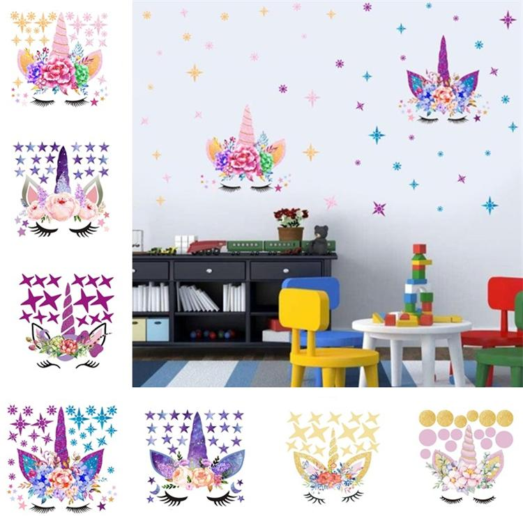 Three style DIY Unicorn Stickers Cartoon Star Wall Stickers star flower  wall sticker Children\'s Bedroom Wall Sticker T6I6003