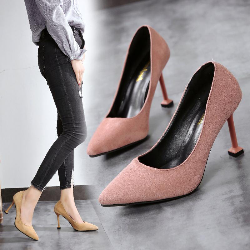 f24a0da66f6 Dress Shoes High Heel Women's Red Suede Suit Shallow Mouth Wedding Party  Pointed High Heels Comfortable Stiletto Women's 39