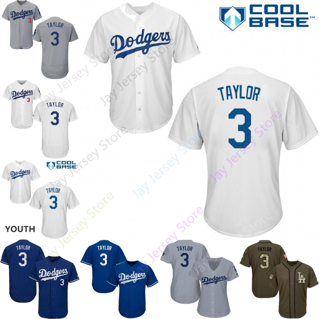 sale retailer 73382 10ae3 Custom Los Angeles 3 Chris Taylor Jersey Dodgers Jerseys CoolBase Flexbase  White Black Red Grey Home Away Men Women Youth Cheap All Stitched