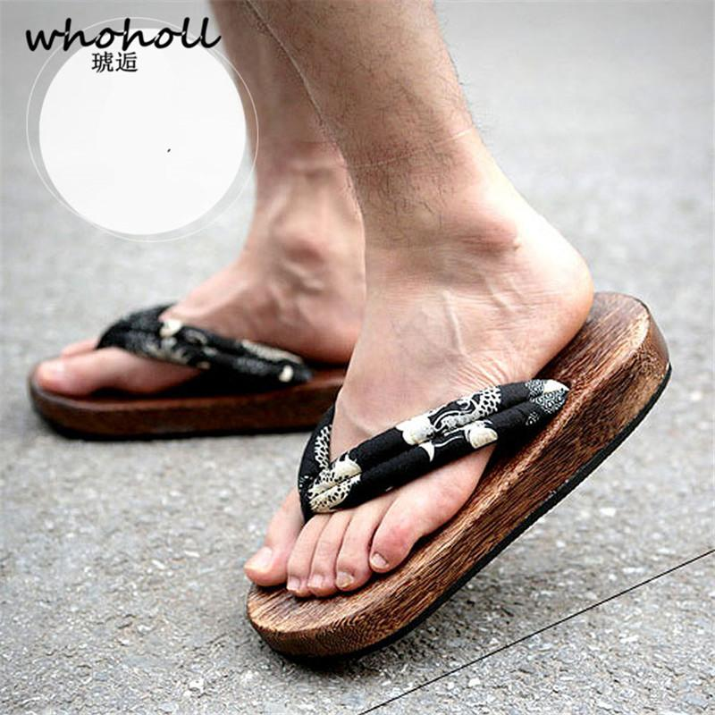 WHOHOLL Geta Clog Men Japanese Style Wooden Sandals For Man Women Clogs COS Flip  Flops Slides Cool 2019 Summer Sandals Walking Boots Womens Cowboy Boots ... 2696d35074