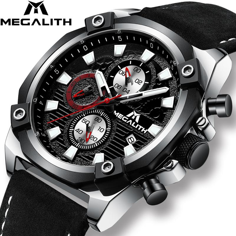MEGALITH Mens Watches Waterproof Top  Quartz Watch Men Calendar Chronograph Sport Watches Relogio Masculino