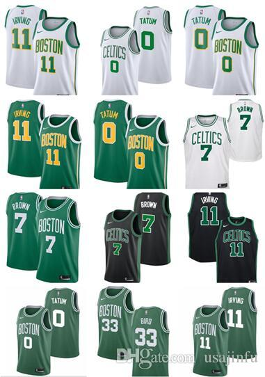 cheap for discount c7e65 08050 11 Irving New Boston Mens Celtic Jersey Kyrie Jayson 0 Tatum Larry 33 Bird  Jaylen 7 Brown Jerseys men