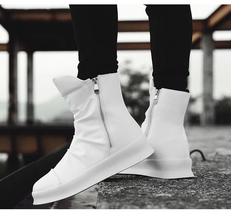 131083a454 Compre Outono E Inverno Homens Botas Moda Personalidade Tendência Alta  Sapatos Forro De Couro Quente Zíper Lateral Decoração Campus Populares  Sapatos ...