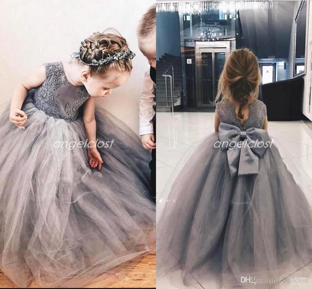 55c31cea156 Cute Silver Ball Gown Flower Girl Dresses Jewel Big Bow Puffy Appliques  Girls Pageant Dress Child Birthday Party Gowns Kids Cosplay Wear Silver  Flower Girl ...