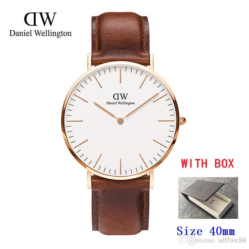 60fea4382aefa 2019 Famous Brand Daniel Women Mens Wellington S WATCHes Fashion Nylon  Strap Style 40mm Silver Mens Watches With Gift Box Relojes Bracelet Watches  Of ...