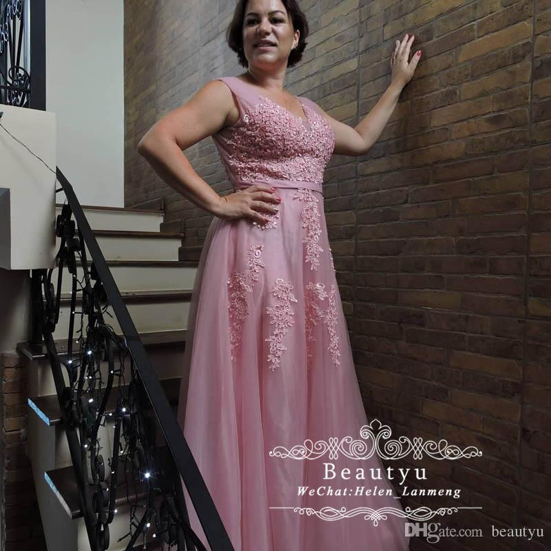 Pink Lace Tulle Mother Of Bride Dresses 2019 Cheap V Neck