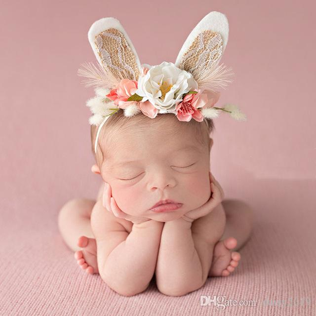 Lovely Girls Flower Wreath Crown Headbands Handmade Rabbit Ears Flower Hair Bands Kids Headwear Hair Accessories Photo prop